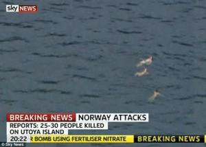 בני נוער שקפצו למים בניסיון לברוח מהטבח באי אוטויה (Otuya)